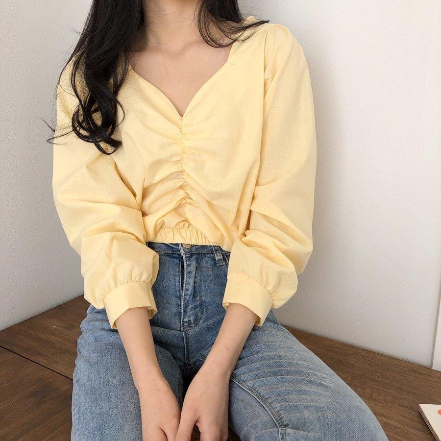 jjrella-튤립 물결 셔링 밴딩 크롭 블라우스♡韓國女裝上衣