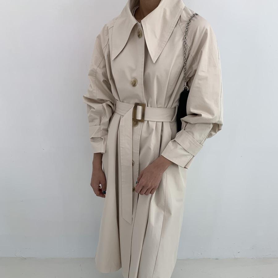 jjrella-빅카라 벨티드 롱 트렌치 코트♡韓國女裝外套