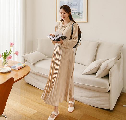 soim-[임부복*플랫카라 플리츠조절원피스(수유가능)]♡韓國孕婦裝連身裙