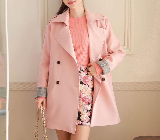 myfiona-소매체크센스 코트 m7926 - 러블리 로맨틱룩 1위 쇼핑몰 피오나♡韓國女裝外套