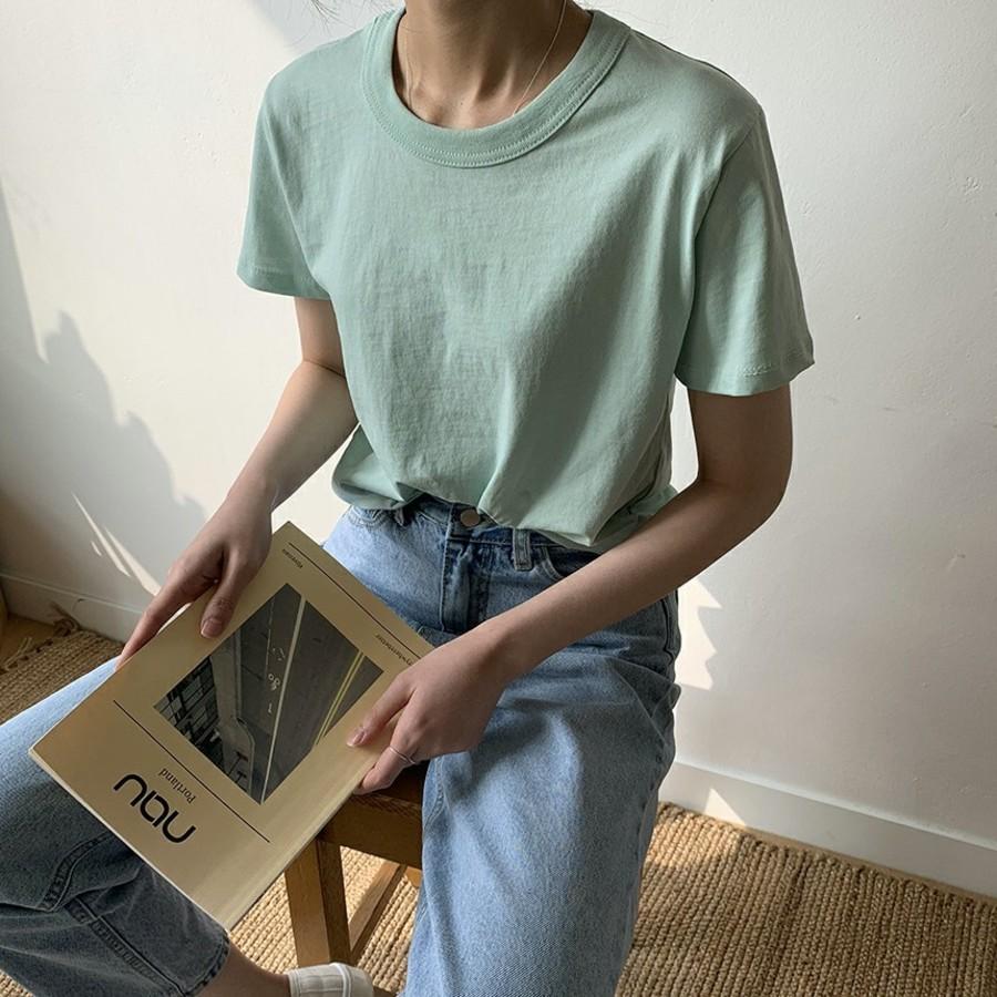 jjrella-면100 라운드 기본 데일리 반팔 티셔츠♡韓國女裝上衣