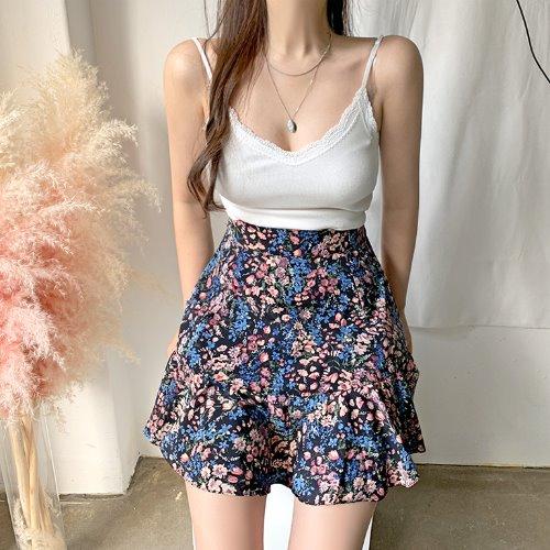 jnroh-테니 (어깨끈조절) 레이스 골지 브이넥 끈나시(아이보리,블랙)♡韓國女裝上衣