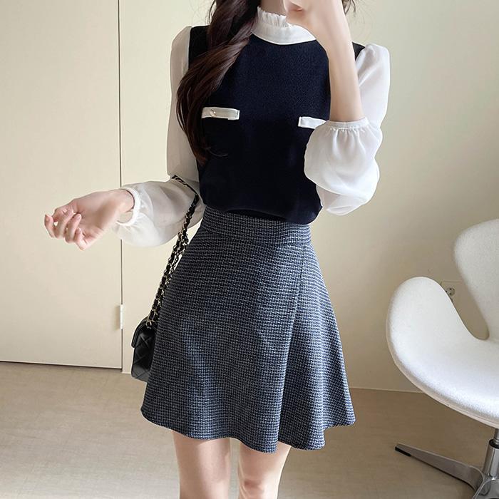 myfiona-위드샤네 쉬폰배색 블라우스 a1270 - 러블리 로맨틱룩 1위 쇼핑몰 피오나♡韓國女裝上衣