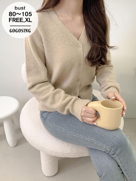 ggsing-[주말동안9%할인]라이프 알파카 브이넥 니트가디건 (울5%,7게이지2합,가둘레,무료배송)♡韓國女裝外套