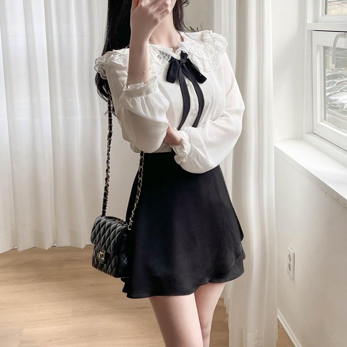 myfiona-(리본탈부착)리린 레이스카라 블라우스 a1275 - 러블리 로맨틱룩 1위 쇼핑몰 피오나♡韓國女裝上衣