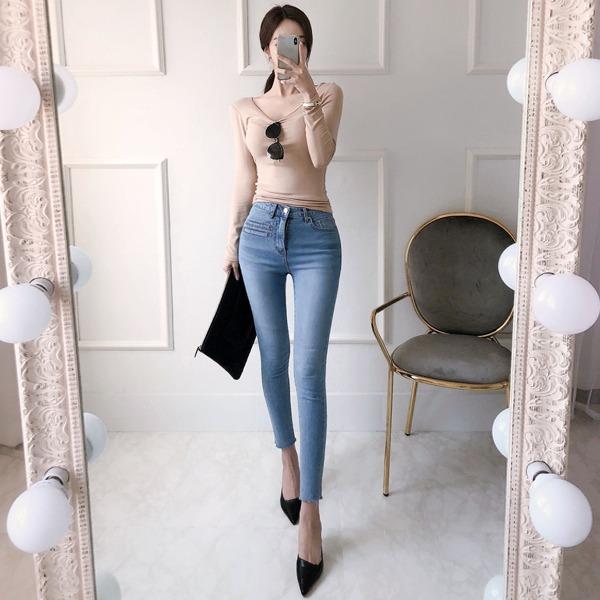 babinpumkin-군살쏙 스키니 데님 팬츠♡韓國女裝褲