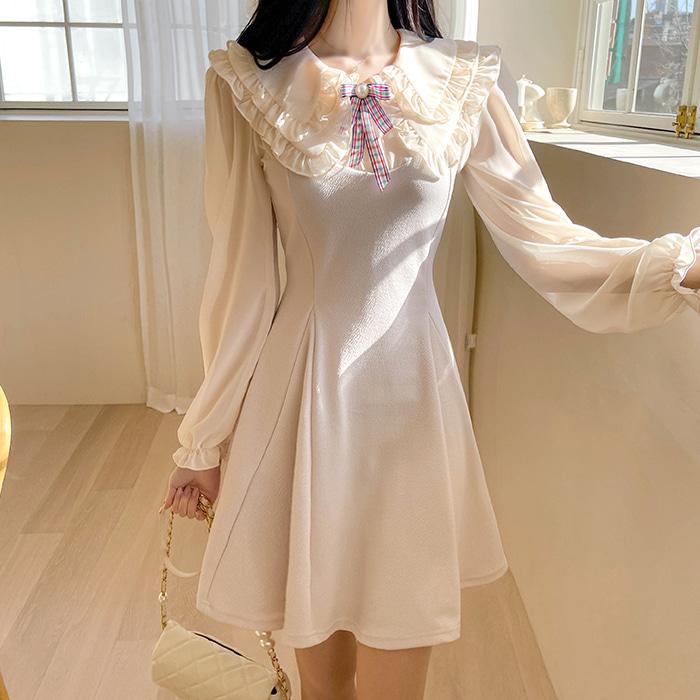 myfiona-에블린 프릴카라 원피스 a1260 - 러블리 로맨틱룩 1위 쇼핑몰 피오나♡韓國女裝連身裙