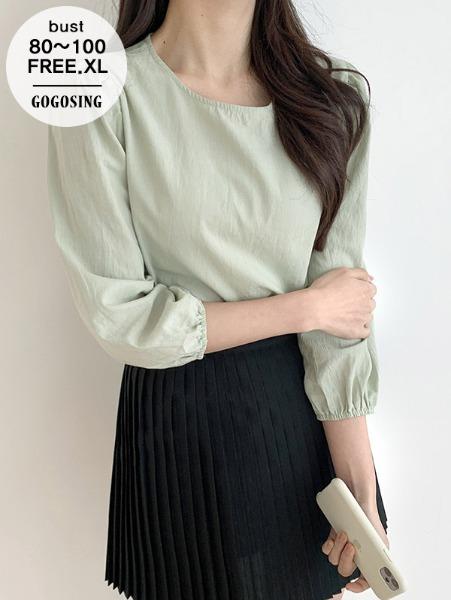 ggsing-[25일9시까지9%할인]퍼프충만파스텔bl(면100%,가둘레,무료배송)♡韓國女裝上衣