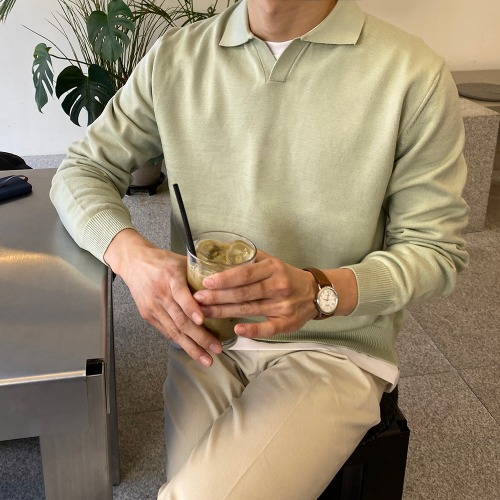 modernsweet-반 오픈 카라 소프트 니트 15color - 모던스윗(modernsweet)♡韓國男裝上衣