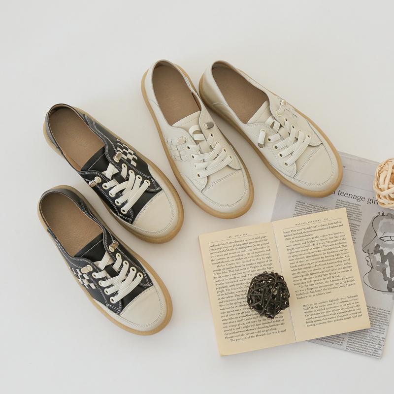 clicknfunny-[제튼 소가죽스니커즈]♡韓國女裝鞋