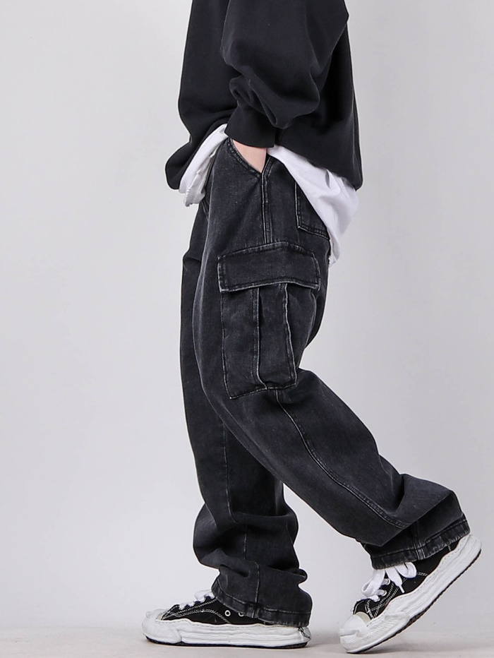 justyoung-AP String Denim Cargo Pants (3color)♡韓國男裝褲子