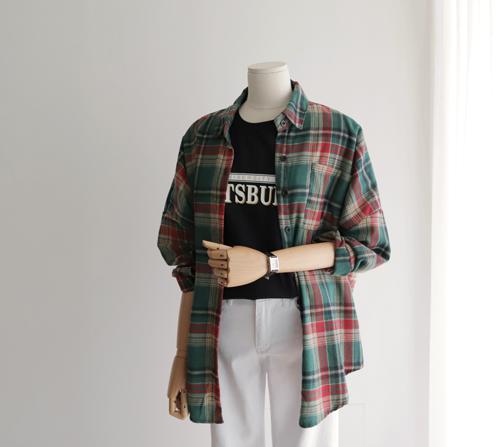 beige blanc-플랜 루즈핏 체크 셔츠]♡韓國女裝上衣