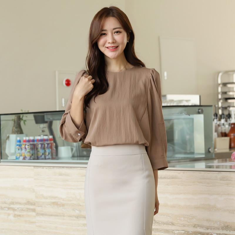 clicknfunny-[데푼 퍼프블라우스]♡韓國女裝上衣