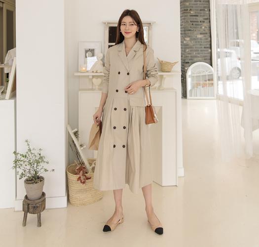 soim-[임부복*더블링트렌치 임산부원피스(수유가능)]♡韓國孕婦裝連身裙