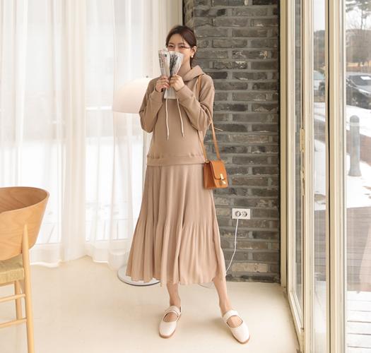 soim-[임부복*잔잔플리츠후드 임산부원피스]♡韓國孕婦裝連身裙
