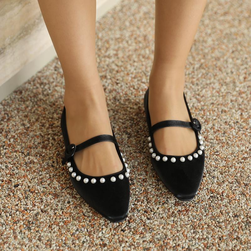 clicknfunny-[퍼얼링 진주플랫슈즈]♡韓國女裝鞋