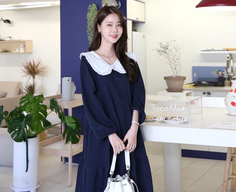 happy10-[*신상5% 기간한정할인*임부복*자수카라캉캉 원피스]♡韓國孕婦裝連身裙