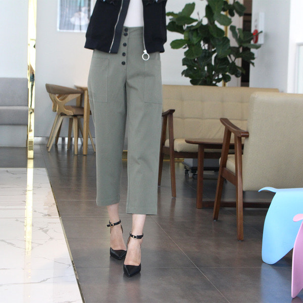 jennifereryn-하이웨스트 와이드9부팬츠♡韓國女裝褲