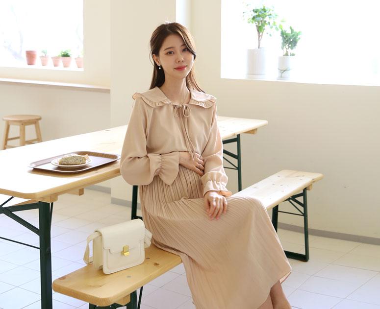 happy10-[*신상5% 기간한정할인*임부복*감성세라 플리츠원피스]♡韓國孕婦裝連身裙