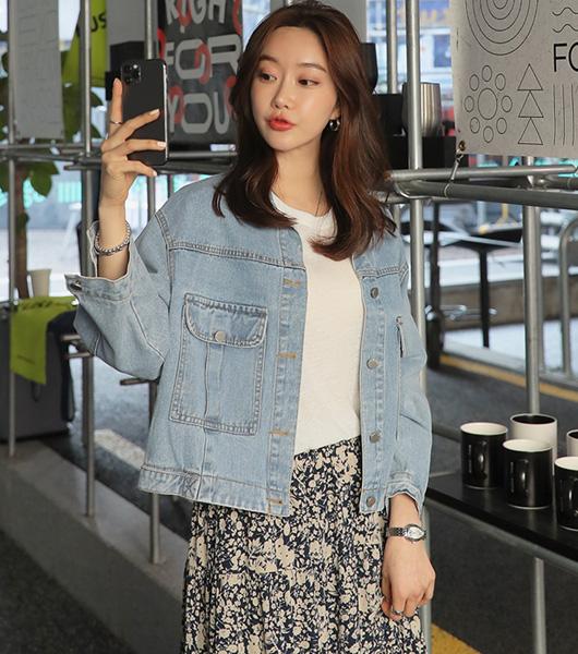 roompacker-룸페커 [포켓 라이트 블루 데님 자켓]♡韓國女裝外套