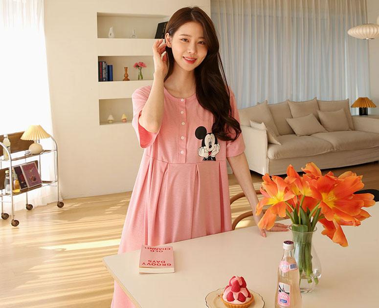 happy10-[*신상5% 기간한정할인*임부복*반오픈미키 수유원피스]♡韓國孕婦哺乳服