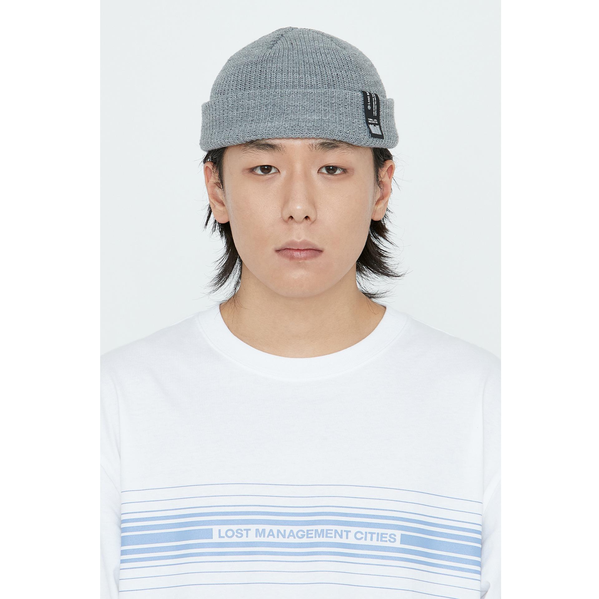 layer-LMC LABEL SHORT BEANIE heather gray♡韓國男裝飾品