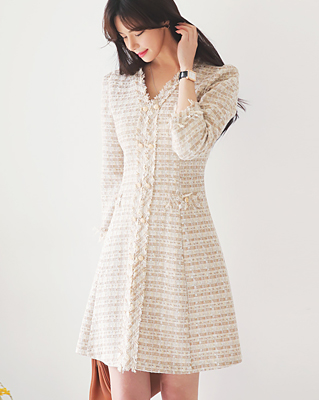 cocostory-[트위드 부띠끄 오피스 원피스-우아함의 끝판왕]♡韓國女裝連身裙
