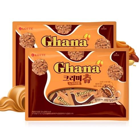 【特價】韓國 Lotte Ghana 焦糖夾心堅果粒麻糬 224g