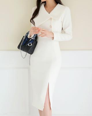 cocostory-[바디 실루엣 그레이스 원피스-아질한 바지라인과 우아함이 공존하는^^]♡韓國女裝連身裙