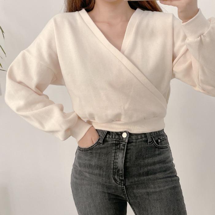 anndaly-양면 크롭 맨투맨 (2color)♡韓國女裝上衣