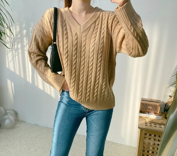 anndaly-꽈베기 브이넥 니트 (3color)♡韓國女裝上衣