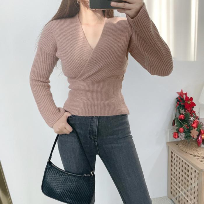 anndaly-랩 브이니트 (4color)♡韓國女裝上衣
