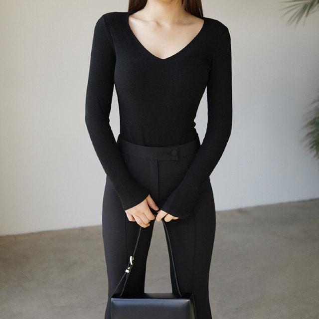 anndaly-E - sale 15500-> 7500 / SR 브이넥 골지T (베이지,아이보리)♡韓國女裝上衣