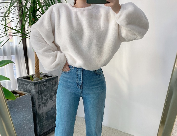 anndaly-부드러운 퍼 맨투맨 - 밑단 스트링 조절 (2color)♡韓國女裝上衣