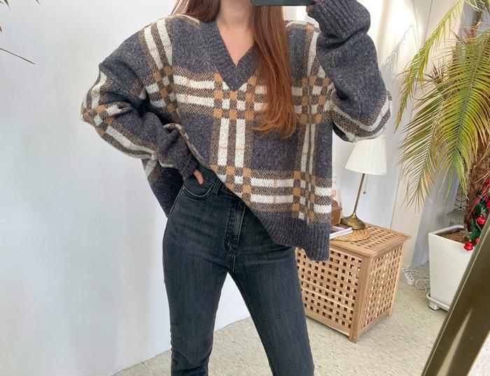anndaly-체크 브이넥 니트 (2color)♡韓國女裝上衣