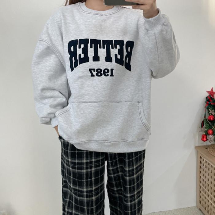 anndaly-스티치 오버핏 양기모 맨투맨 (2color)♡韓國女裝上衣