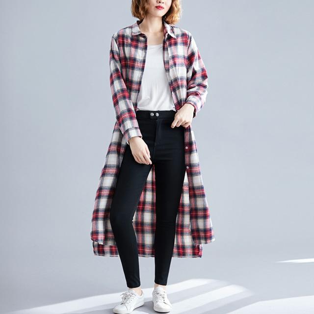mythyella-벨티드 체크 롱 셔츠♡韓國女裝上衣