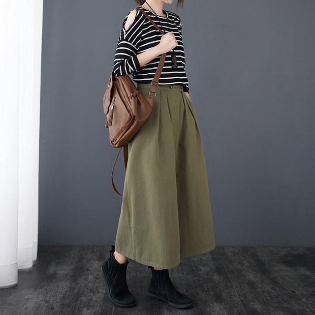 mythyella-투버튼 핀턱 롱 스커트♡韓國女裝裙