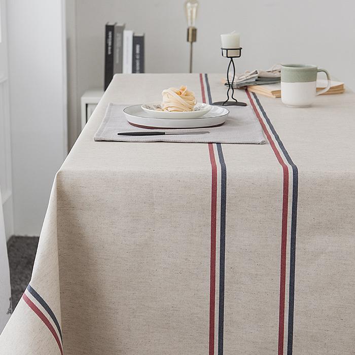 cozycotton-린넨투라인 방수식탁보]♡韓國家品布藝 (6人用 約有200*115cm)