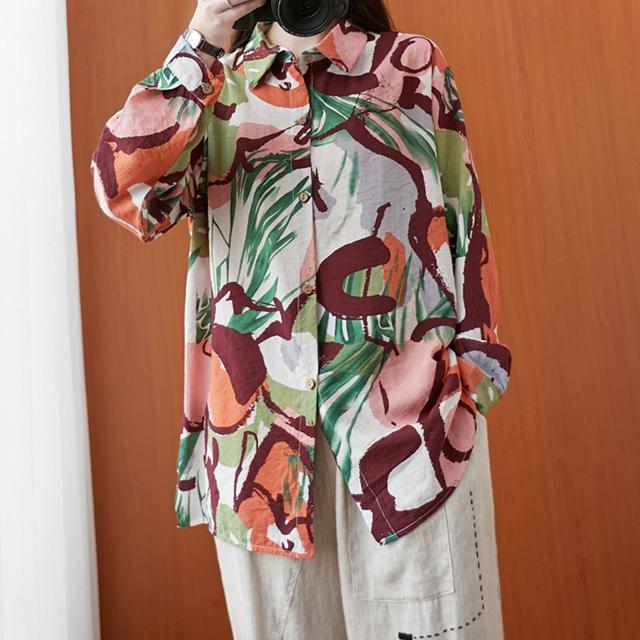 mythyella-에스닉 루즈핏 패턴 셔츠♡韓國女裝上衣