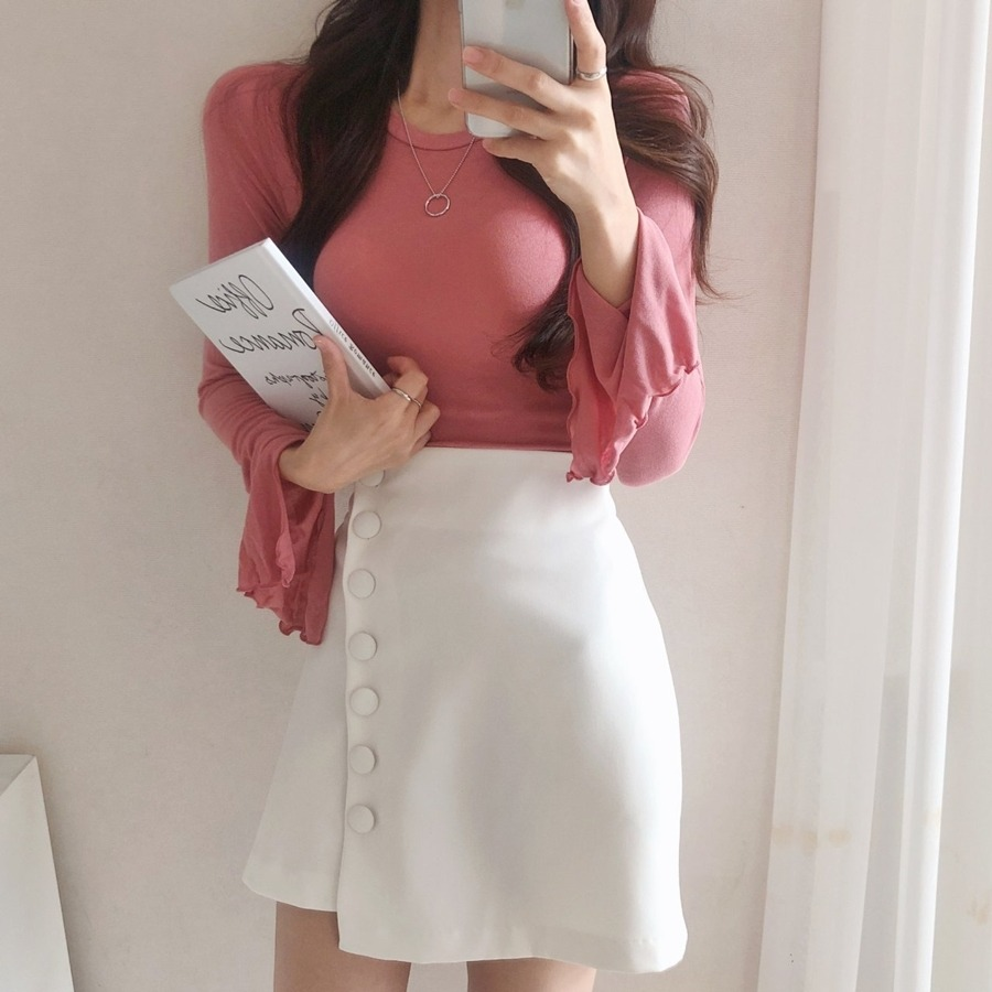 jjrella-포미 소매 트임 물결 여리여리 긴팔 티셔츠♡韓國女裝上衣