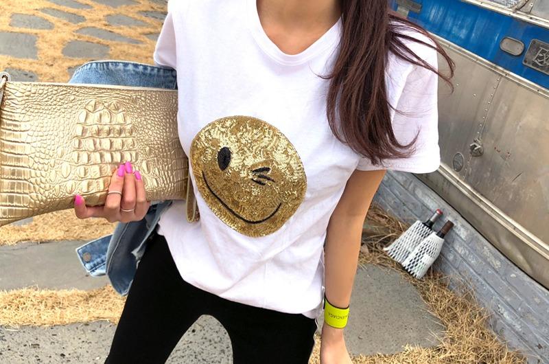 torishop-스마일스팽글 라운드T (2color)♡韓國女裝上衣