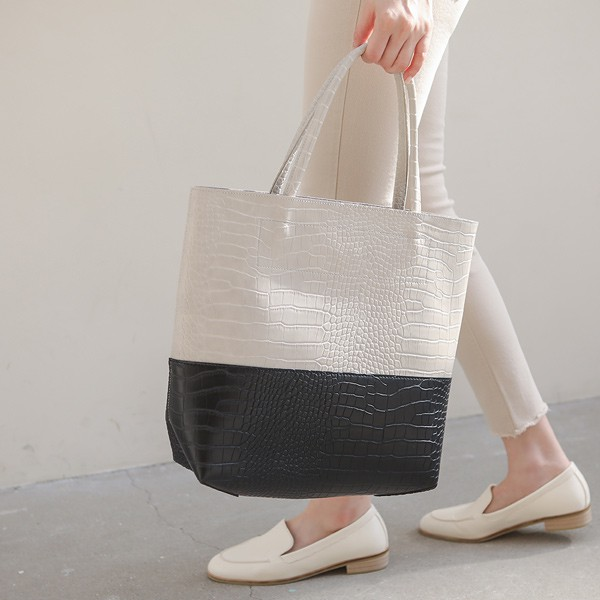 ode-[투톤 배색 크로커 빅 쇼퍼백(파우치SET)]♡韓國女裝袋