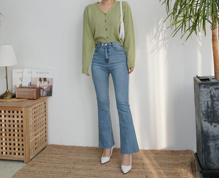 anndaly-투버튼 부츠컷♡韓國女裝褲
