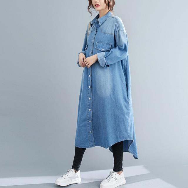 mythyella-버튼 워싱데님 롱 셔츠 자켓♡韓國女裝連身裙