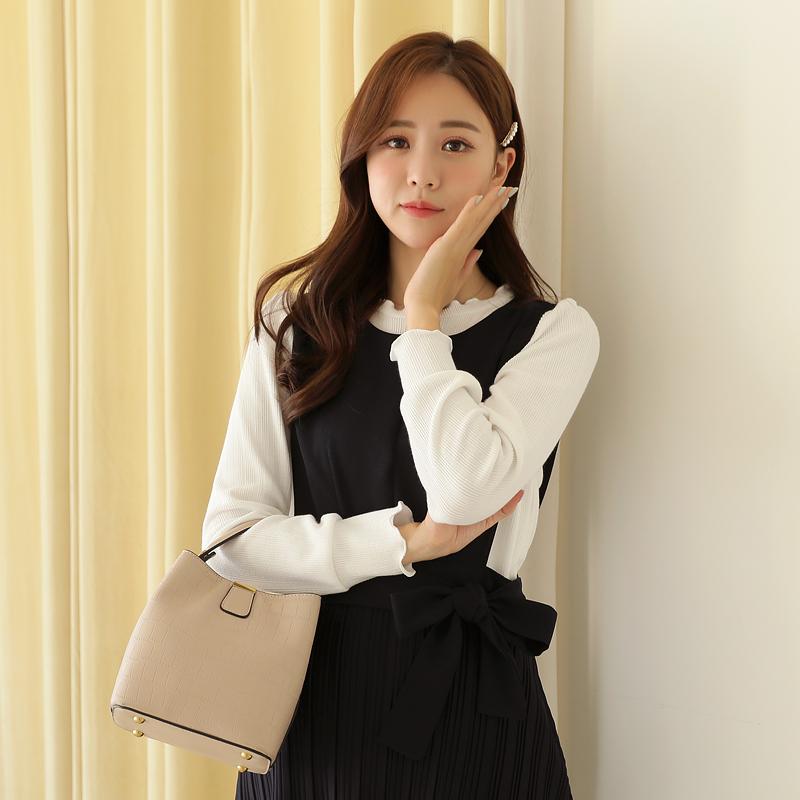 clicknfunny-[포들 물결티셔츠]♡韓國女裝上衣