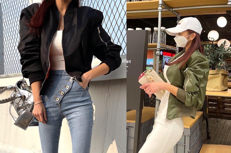 torishop-심플미니 새틴항공JP (2color)♡韓國女裝外套