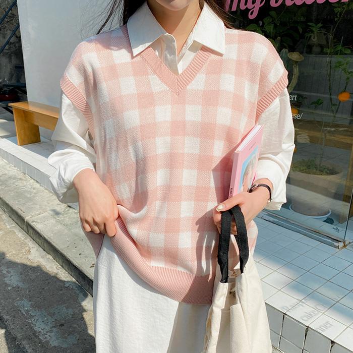 09women-[프엘라 체크 스트랩 니트 베스트 58492]♡韓國女裝外套