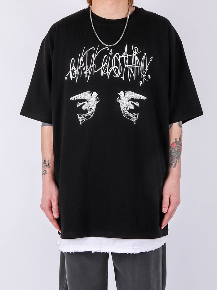 justyoung-AC Twin Angel Short Sleeve Tee (2color)♡韓國男裝上衣