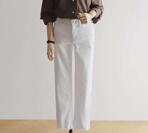 beige blanc-에브리데이 스판 10부 기본 일자핏 팬츠]♡韓國女裝褲